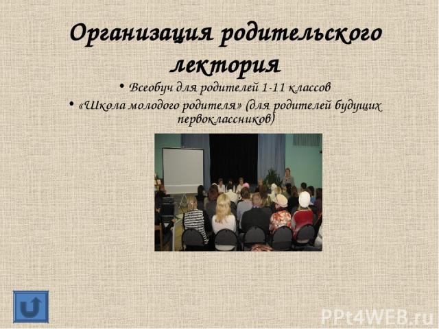 Организация родительского лектория Всеобуч для родителей 1-11 классов «Школа молодого родителя» (для родителей будущих первоклассников)