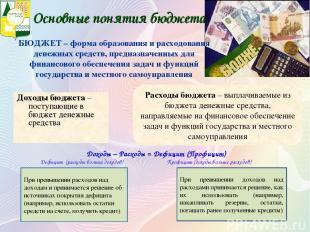 Основные понятия бюджета Доходы бюджета – поступающие в бюджет денежные средства