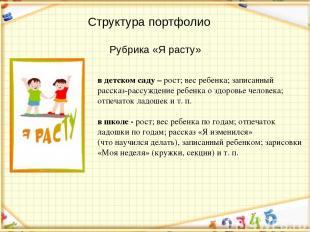 Структура портфолио Рубрика «Я расту» в детском саду – рост; вес ребенка; записа