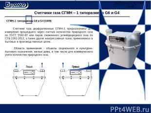 Счетчики газа СГМН – 1 типоразмера G6 и G4 Счетчики газа диафрагменные СГМН-1 пр
