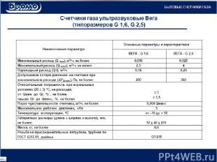 Счетчики газа ультразвуковые Вега (типоразмеров G 1,6, G 2,5) БЫТОВЫЕ СЧЕТЧИКИ Г