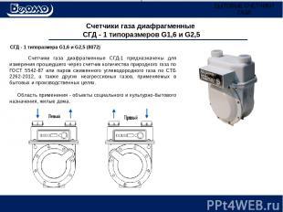 Счетчики газа диафрагменные СГД - 1 типоразмеров G1,6 и G2,5 СГД - 1 типоразмера