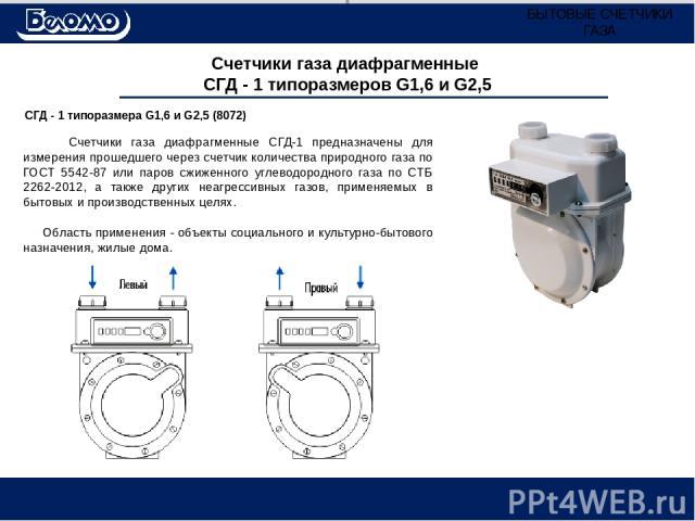 Счетчики газа диафрагменные СГД - 1 типоразмеров G1,6 и G2,5 СГД - 1 типоразмера G1,6 и G2,5 (8072) Счетчики газа диафрагменные СГД-1 предназначены для измерения прошедшего через счетчик количества природного газа по ГОСТ 5542-87 или паров сжиженног…