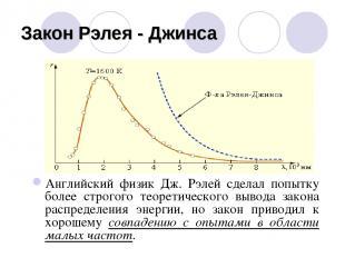 Закон Рэлея - Джинса Английский физик Дж. Рэлей сделал попытку более строгого те