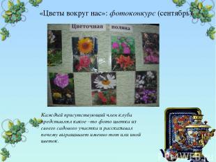 «Цветы вокруг нас»: фотоконкурс (сентябрь) Каждый присутствующий член клуба пред