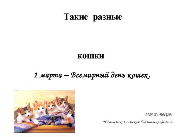 1 марта – Всемирный день кошек. МБУК « ПМЦБ» Новотульская сельская библиотека-филиал Такие разные кошки