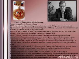 Чуриков Владимир Михайлович. Родился 21 сентября 1945 года в г. Киеве. В 1975 го