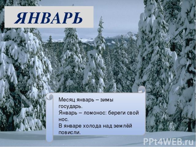 ЯНВАРЬ Месяц январь – зимы государь. Январь – ломонос: береги свой нос. В январе холода над землёй повисли.