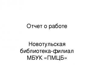 Отчет о работе Новотульская библиотека-филиал МБУК «ПМЦБ»