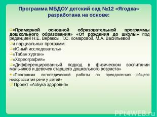 Программа МБДОУ детский сад №12 «Ягодка» разработана на основе: «Примерной основ