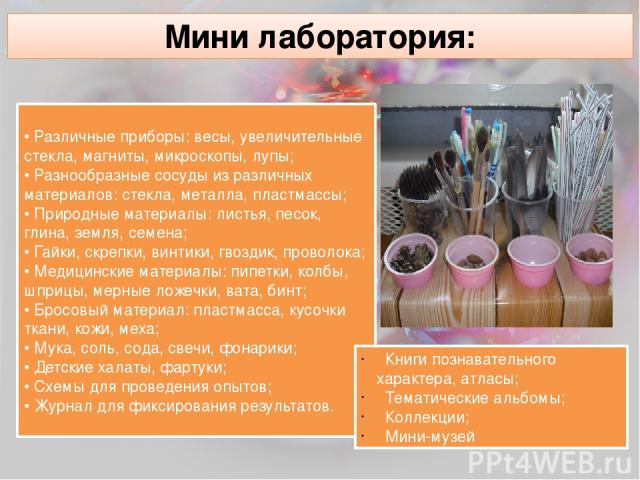 Мини лаборатория: • Различные приборы: весы, увеличительные стекла, магниты, микроскопы, лупы; • Разнообразные сосуды из различных материалов: стекла, металла, пластмассы; • Природные материалы: листья, песок, глина, земля, семена; • Гайки, скрепки,…