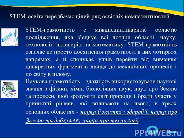 2 3 STEM-освіта передбачає цілий ряд освітніх компетентностей: STEM-грамотність є міждисциплінарною областю дослідження, яка з'єднує всі чотири області: науку, технології, інженерію та математику. STEM-грамотність означає не просто досягнення грамот…