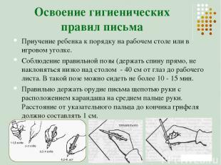 Освоение гигиенических правил письма Приучение ребенка к порядку на рабочем стол