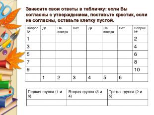 Занесите свои ответы в табличку: если Вы согласны с утверждением, поставьте крес