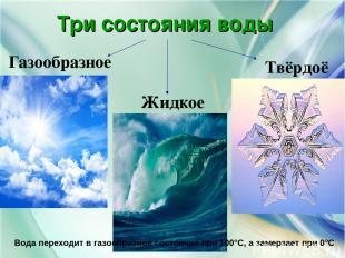Три состояния воды Газообразное Жидкое Твёрдоё Вода переходит в газообразное сос