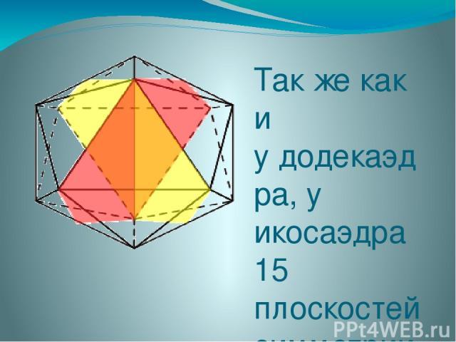Так же как и удодекаэдра, у икосаэдра 15 плоскостей симметрии. Плоскости симметрии проходят через четыре вершины, которые лежат в одной плоскости, и середины противоположных параллельных ребер.