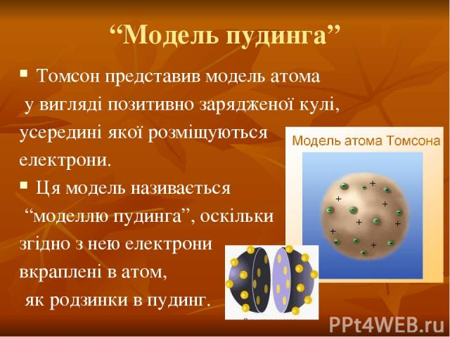"""""""Модель пудинга"""" Томсон представив модель атома у вигляді позитивно зарядженої кулі, усередині якої розміщуються електрони. Ця модель називається """"моделлю пудинга"""", оскільки згідно з нею електрони вкраплені в атом, як родзинки в пудинг."""