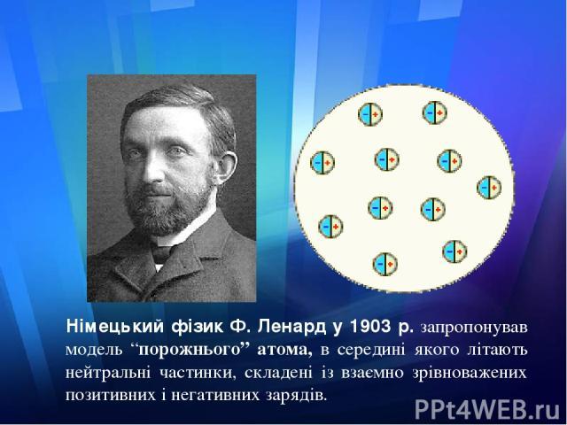 """Німецький фізик Ф. Ленард у 1903 р.запропонував модель """"порожнього"""" атома, в середині якого літають нейтральні частинки, складені із взаємно зрівноважених позитивних і негативних зарядів."""