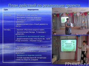 План действий по реализации проекта Срок Мероприятие Сентябрь - Экскурсии в парк