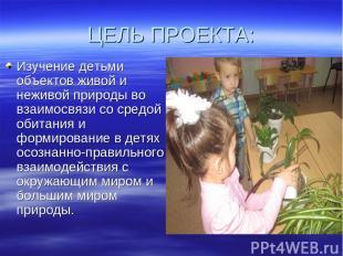 ЦЕЛЬ ПРОЕКТА: Изучение детьми объектов живой и неживой природы во взаимосвязи со