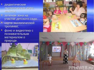дидактические экологические игры, макеты; зеленая зона на участке детского сада;