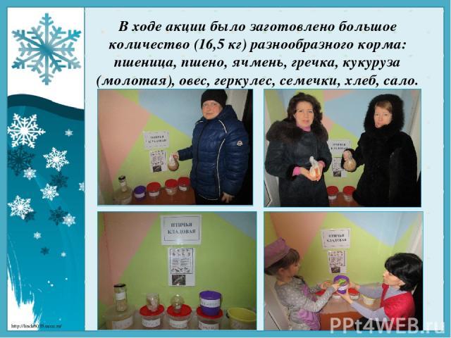 В ходе акции было заготовлено большое количество (16,5 кг) разнообразного корма: пшеница, пшено, ячмень, гречка, кукуруза (молотая), овес, геркулес, семечки, хлеб, сало. http://linda6035.ucoz.ru/