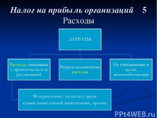 Налог на прибыль организаций 5 Расходы