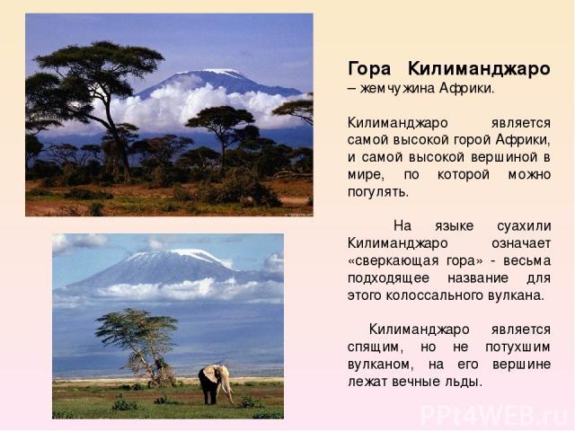 Гора Килиманджаро – жемчужина Африки. Килиманджаро является самой высокой горой Африки, и самой высокой вершиной в мире, по которой можно погулять. На языке суахили Килиманджаро означает «сверкающая гора» - весьма подходящее название для этого колос…