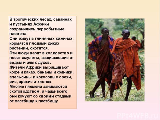 Втропических лесах, саваннах и пустынях Африки сохранились первобытные племена. Они живут в глиняных хижинах, кормятся плодами диких растений, охотятся. Эти люди верят в колдовство и носят амулеты, защищающие от ведьм и злых духов. Жители Африки вы…