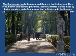 The Summer garden is the oldest and the most fascinating park. Rare trees, bushe