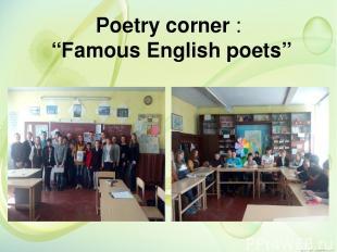 """Poetry corner : """"Famous English poets"""""""