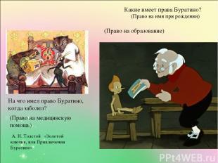А. Н. Толстой «Золотой ключик, или Приключения Буратино» Какие имеет права Бурат