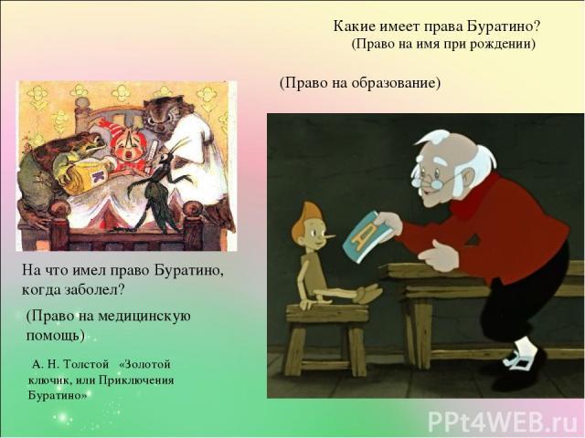 А. Н. Толстой «Золотой ключик, или Приключения Буратино» Какие имеет права Буратино? (Право на имя при рождении) (Право на образование) На что имел право Буратино, когда заболел? (Право на медицинскую помощь)