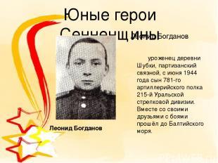 Юные герои Сенненщины Леонид Богданов уроженец деревни Шубки, партизанский связн