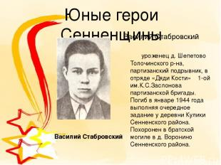 Юные герои Сенненщины Василий Стабровский уроженец д. Шепетово Толочинского р-на