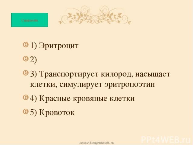 1) Эритроцит 1) Эритроцит 2) 3) Транспортирует килород, насыщает клетки, симулирует эритропоэтин 4) Красные кровяные клетки 5) Кровоток