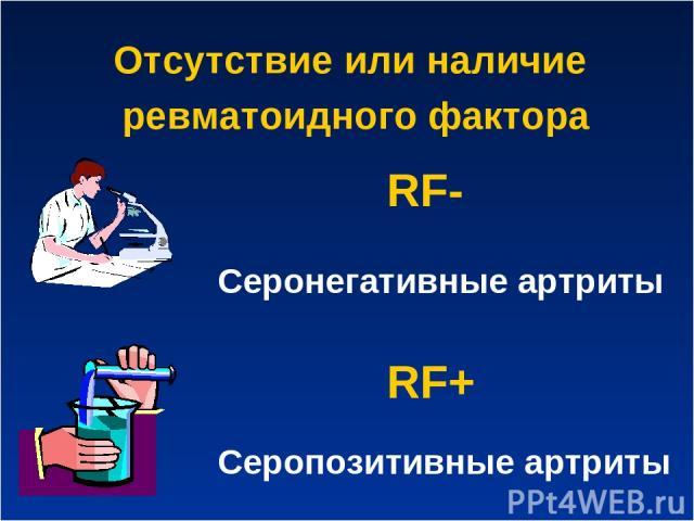 Отсутствие или наличие ревматоидного фактора RF+ Серопозитивные артриты RF- Серонегативные артриты