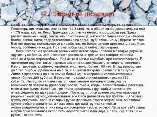 Большая часть территории Приморского края (около 75%) покрыталесами. Лесопокрыт