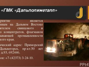 АО «ГМК «Дальполиметалл» Предприятие является единственным на Дальнем Востоке пр