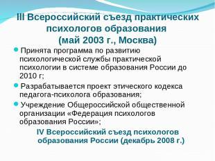 III Всероссийский съезд практических психологов образования (май 2003 г., Москва