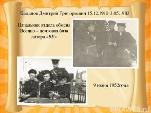 Баданов Дмитрий Григорьевич 15.12.1910-3.05.1983 9 июня 1952года Начальник отдел