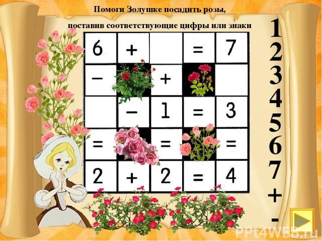 1 2 3 4 5 6 7 + - Помоги Золушке посадить розы, поставив соответствующие цифры или знаки 1 - 4 Курсивом мышки показываем заполняемую клетку и выбираем число или знак.