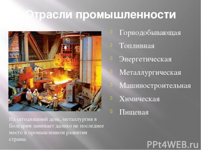 Отрасли промышленности Горнодобывающая Топливная Энергетическая Металлургическая Машиностроительная Химическая Пищевая На сегодняшний день, металлургия в Болгарии занимает далеко не последнее место в промышленном развитии страны.