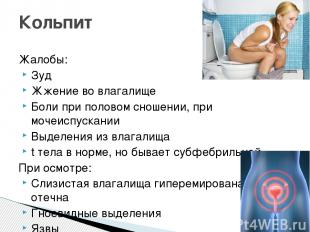 Жалобы: Зуд Жжение во влагалище Боли при половом сношении, при мочеиспускании Вы