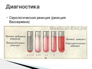 Серологическая реакция (реакция Вассермана) Диагностика