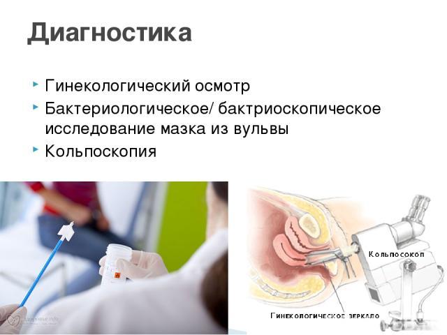 Гинекологический осмотр Бактериологическое/ бактриоскопическое исследование мазка из вульвы Кольпоскопия Диагностика