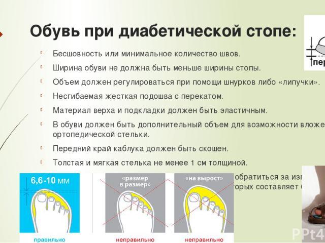 Обувь при диабетической стопе: Бесшовность или минимальное количество швов. Ширина обуви не должна быть меньше ширины стопы. Объем должен регулироваться при помощи шнурков либо «липучки». Несгибаемая жесткая подошва с перекатом. Материал верха и под…