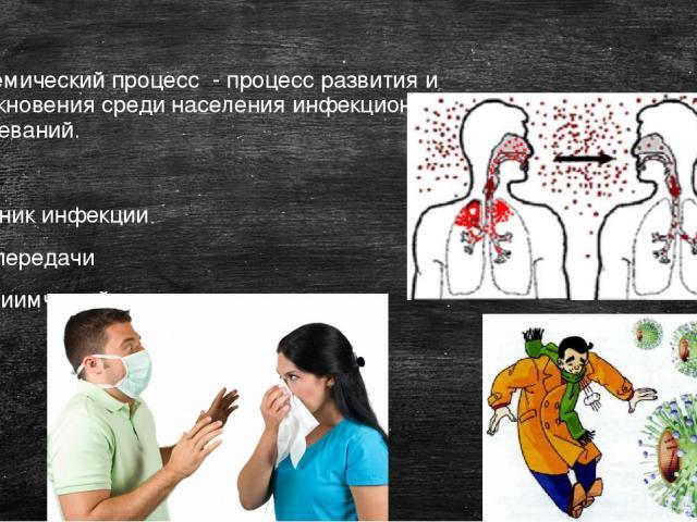 Эпидемический процесс - процесс развития и возникновения среди населения инфекционных заболеваний. 3 звена: Источник инфекции Путь передачи Восприимчивый организм