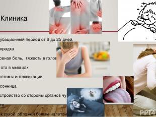 Клиника Инкубационный период от 6 до 25 дней. Лихорадка Головная боль, тяжесть в
