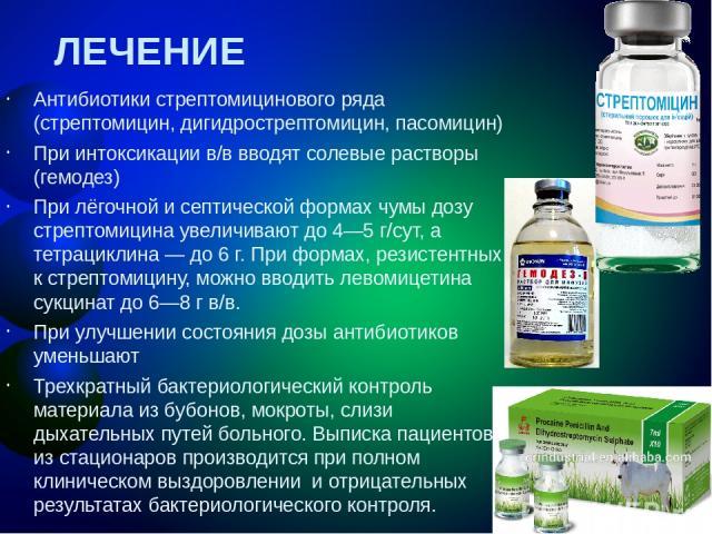 ЛЕЧЕНИЕ Антибиотики стрептомицинового ряда (стрептомицин, дигидрострептомицин, пасомицин) При интоксикации в/в вводят солевые растворы (гемодез) При лёгочной и септической формах чумы дозу стрептомицина увеличивают до 4—5 г/сут, а тетрациклина — до …